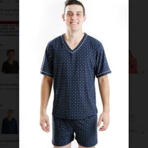 Pijama Manga Curta Masculino Gola V Liganete
