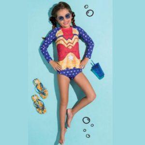 Conjunto de Biquíni Infantil Manga Longa Proteção UV Lycra