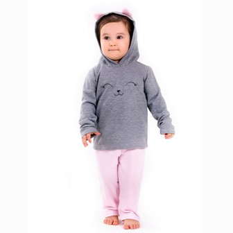 Pijama M/L Capuz Moleton Infantil