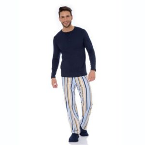 Pijama Manga Longa Masculino C/Bolso Lateral Algodão