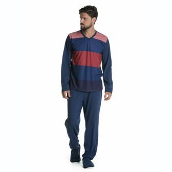 Pijama Manga Longa Masculino Gola V Algodão