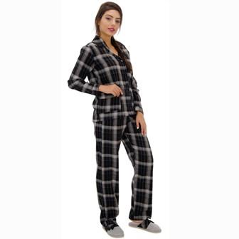 Pijama Manga Longa Aberto de Botões Flanela Feminino