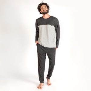 Pijama Manga Longa Masculino Com Bolso PV