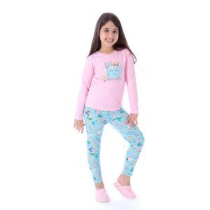 Pijama Manga Longa Infantil Fe Com Legging Canelado