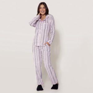 Pijama Manga Longa Feminino Aberto de Botões Algodão