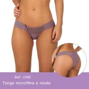 Calcinha Tanga Lateral Dupla Microfibra/Renda