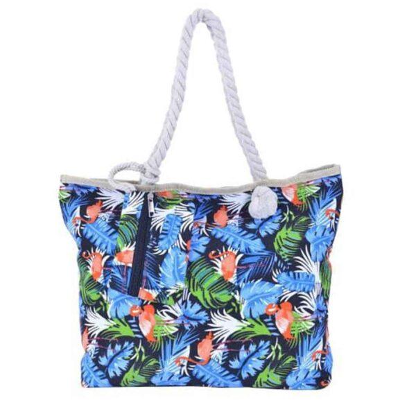 Bolsa de Praia Com Ziper Algodão/Linho