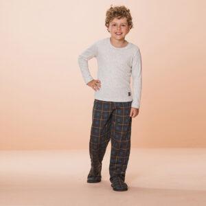 Pijama Manga Longa Infantil Ma Xadrez Ribana