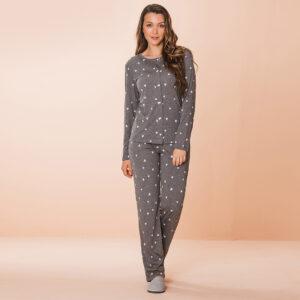 Pijama Manga Longa Feminino Aberto de Botões Poliviscose