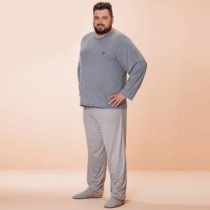 Pijama Manga Longa Masculino Fechado Poliviscose