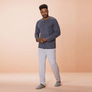 Pijama Manga Longa Masculino Aberto de Botões Poliviscose