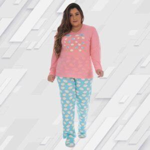 Pijama Manga Longa Feminino Fechado Poliviscose