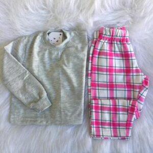Pijama Manga Longa Infantil Fe Xadrez Moleton