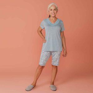 Pijama Capri Manga Curta Poliviscose
