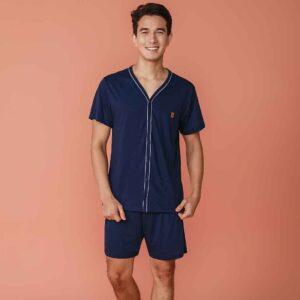 Pijama Manga Curta Masculino Aberto de Botões Poliviscose